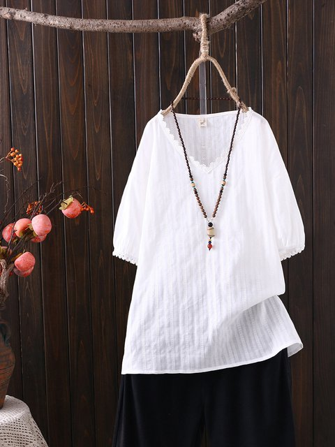 Casual Cotton-Blend V Neck Solid Shirts & Tops