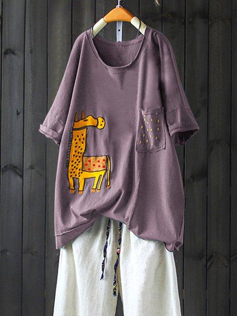 Short Sleeve Crew Neck Cartoon Printed Shirts & Tops