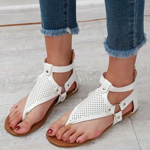 Zipper Artificial Leather Flip-flops Women Casual Thong Sandals