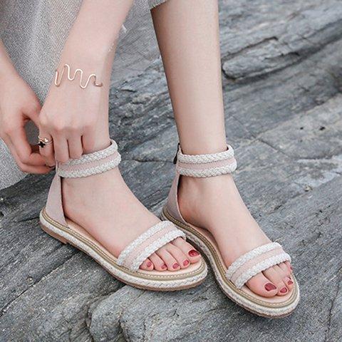 Zipper Artificial Leather Women Casual Sandals