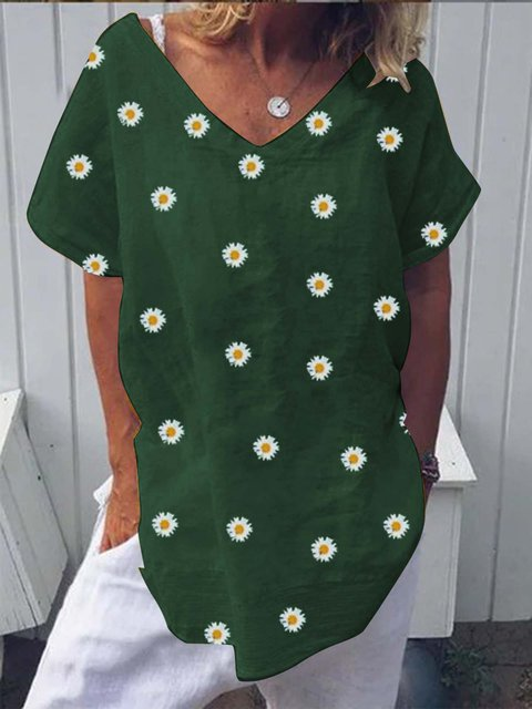Green V Neck Casual Shirts & Tops