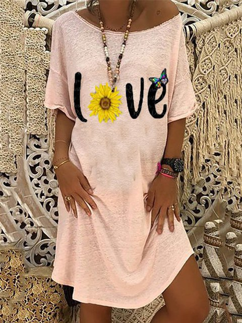 Casual Round Neck Printed Short Sleeve Dresses