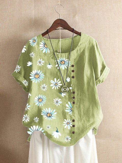 Green Floral-Print Casual Shirts & Tops
