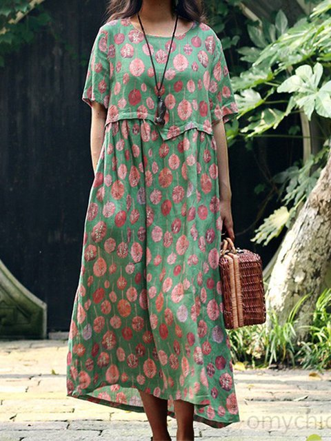 Green Round Neck Floral-Print Casual Cotton Dresses