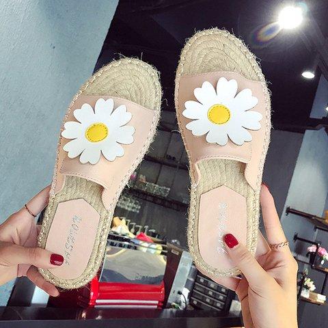 Women Flower Slide Homewear Daily Fall Flat Heel Pu Slippers