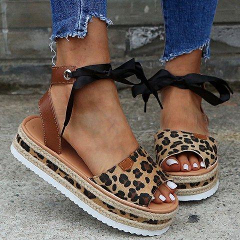 Leopard Platform Lace-Up Pu Summer Sandals