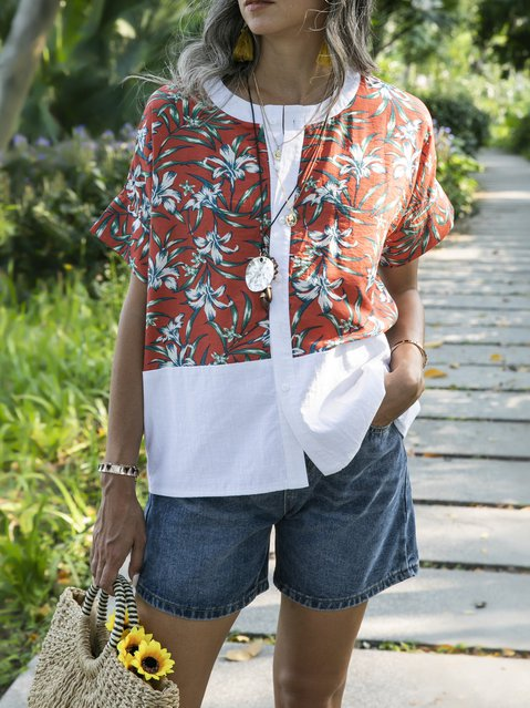 Red Floral Boho Crew Neck Shift Shirts & Tops