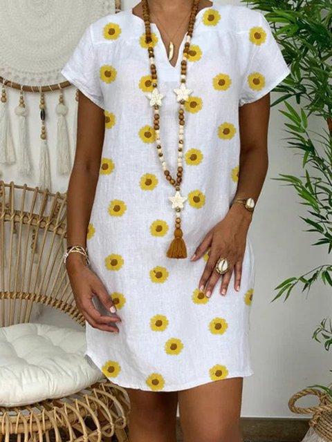 V Neck White Women Sunflower Casual Linen Dresses