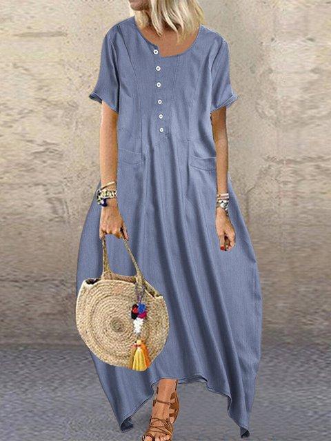 Women Kaftan Irregular Neckline Cocoon Casual Maxi Dresses