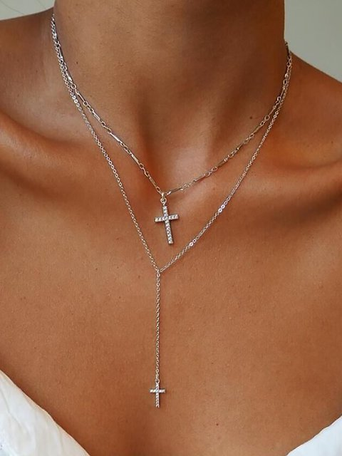 Double Cross Layers Necklace Chain