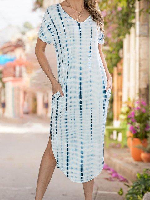 V Neck Shift Daily Tie Dye Dress