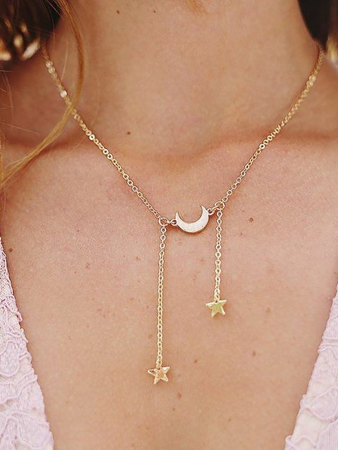 Simple Moon Pentagram Necklace