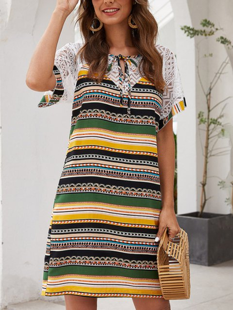Casual V Neck A-Line Short Sleeve Lace Paneled Dresses