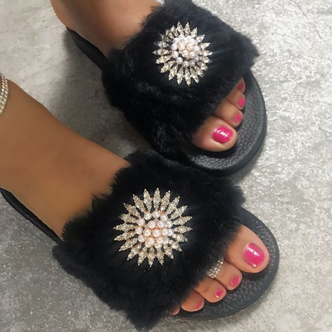 Faux Fur Slide Sandals All Season Pearl Casual Slippers