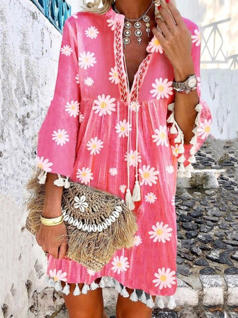 Women Boho Holiday Floral Tassel Sweet V Neck A-lined Midi Summer Dresses
