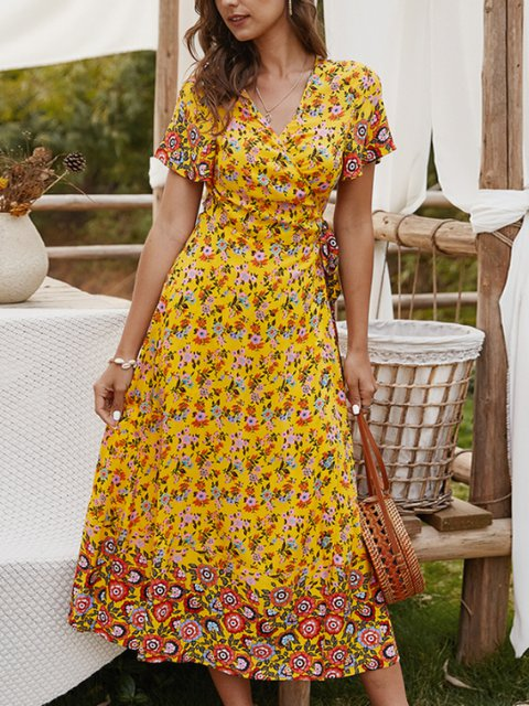 Wrap Lady Short Sleeve V Neck Floral Maxi Dresses
