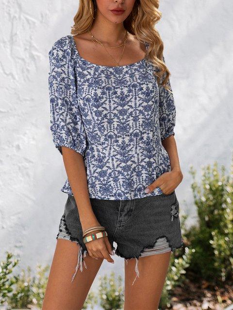 Blue Half Sleeve Sexy Shift Shirts & Tops