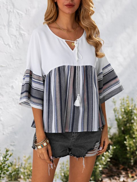 White Casual Striped V Neck 3/4 Sleeve Shirts & Tops