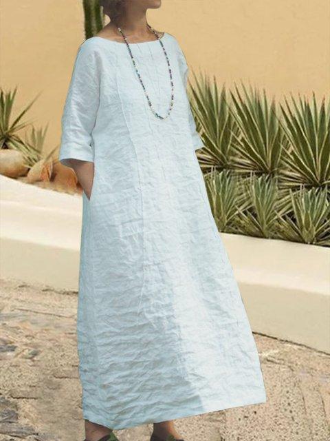 A-Line Casual Loose Plain Mid Sleeve Dress