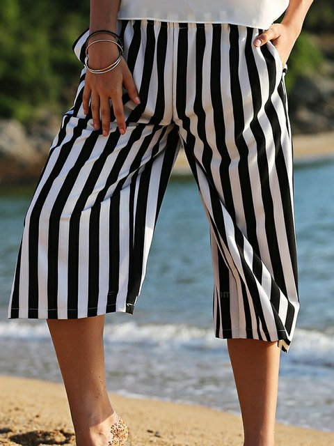 Casual Stripe Cropped Pants