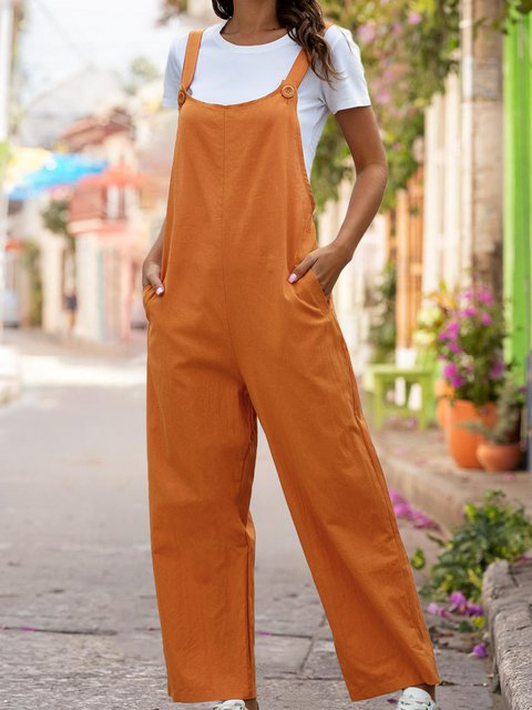 Casual Solid Sleeveless  One-Pieces Jumpsuit