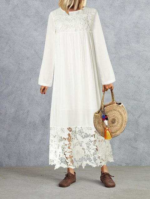 Cotton Lace Paneled  A-Line Maxi Dresses