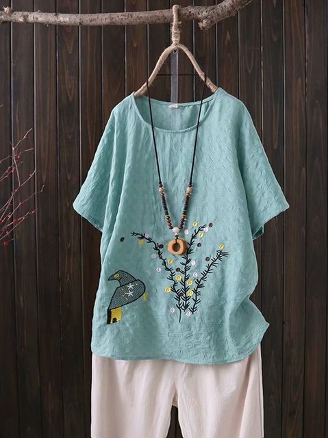 Cotton Short Sleeve Embroidery Shirts & Tops