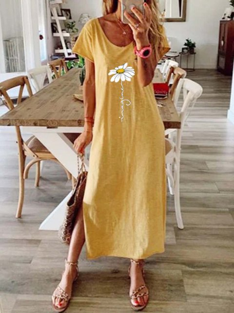 Crew Neck Yellow Women Dresses Cotton-Blend Floral-Print Dresses
