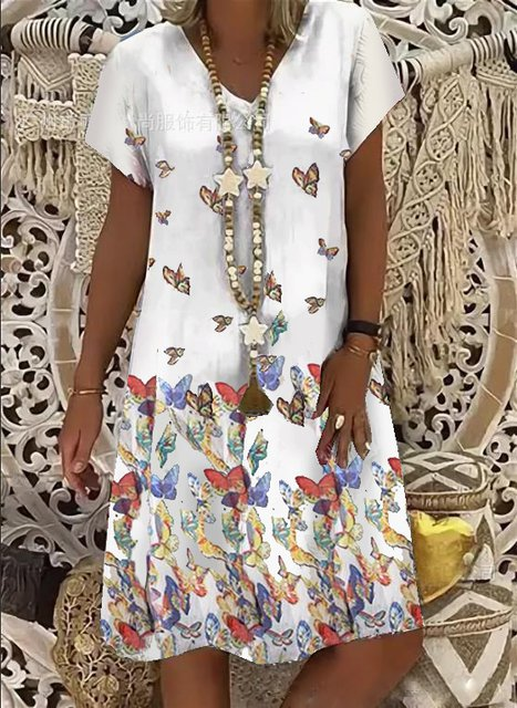 V-neck mid-length women's dress daily butterfly print dress