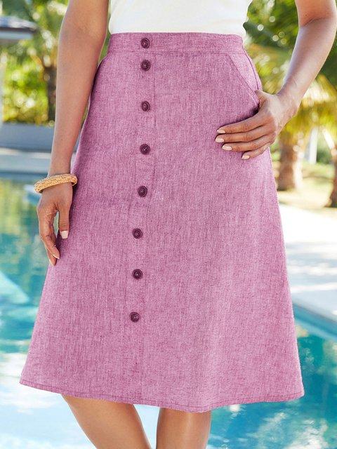 Summer Solid Buttoned Skirts Women Pockets Skirt