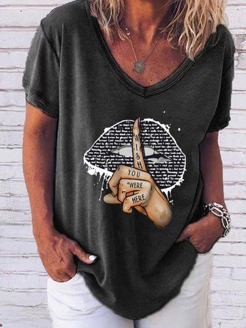 Graffiti Printed Casual V-neck Shirt