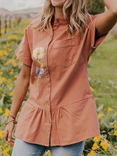 Daisy Printed Button Short Sleeve Shirt