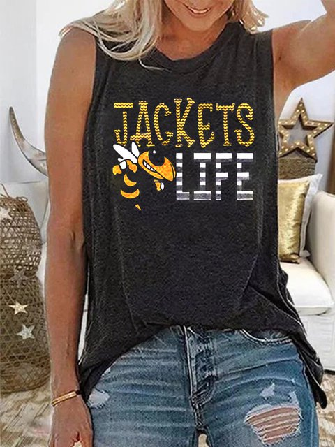 Letter Holiday Printed Round Neck Shirts & Tops