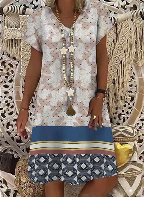V-neck mid-length ladies dress A-Line daily print dress