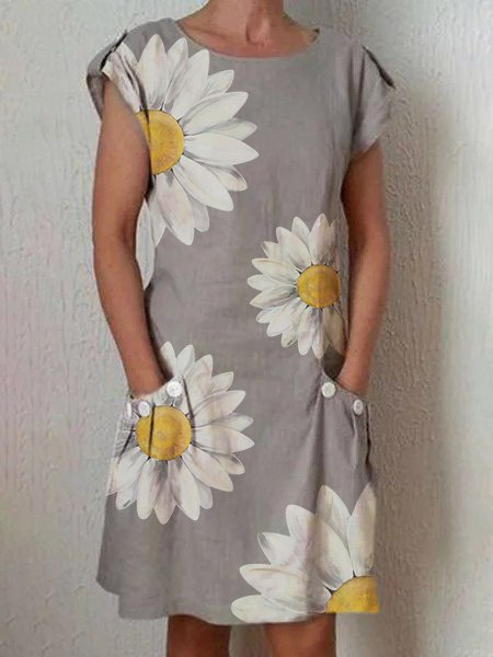 Crew Neck Gray Women Dresses Casual Linen Dresses