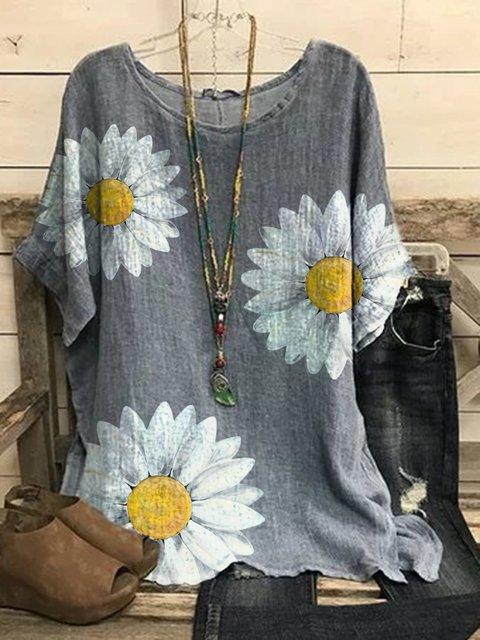 Gray Short Sleeve Linen Floral Shirts & Tops