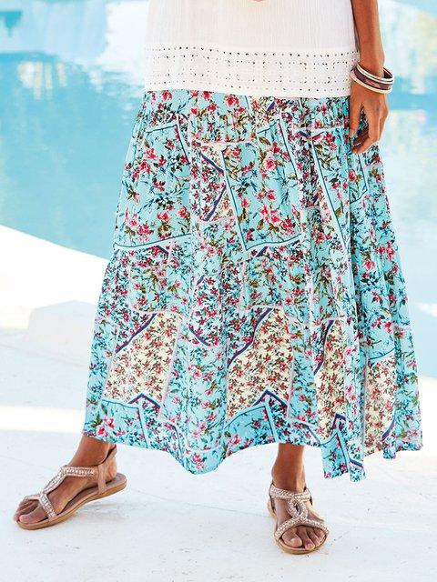 Floral Printed Skirts Women Summer Skirt