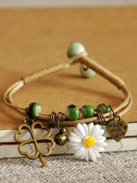Vintage Casual Woven Ceramic Daisy Bracelets