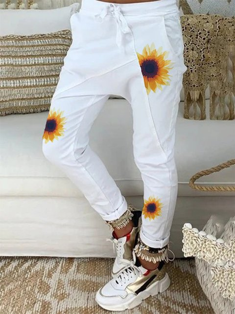 White Floral Casual Paneled Pants
