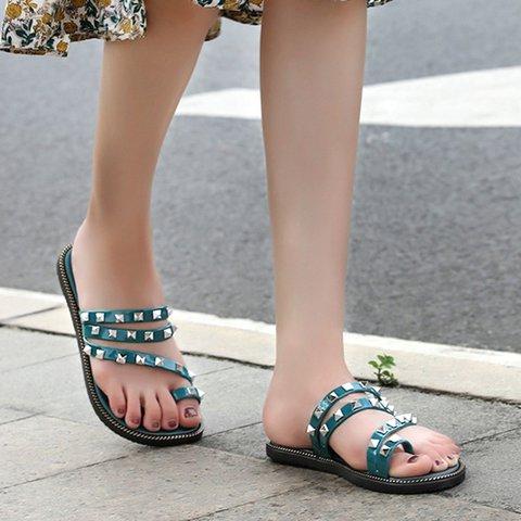 Women Slide Thong Sandals Rivet Pu Fall Flat Heel Shoes