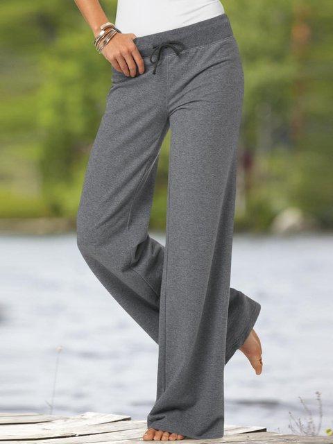 Gray Plain Cotton-Blend Casual Pants