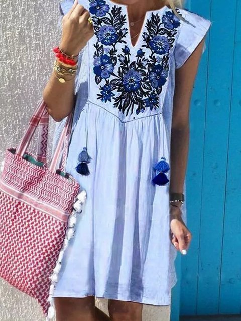Women V-Neck Printed Holiday Summer Dresses