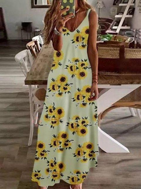 Women Floral Caftan V-Neck Spaghetti Maxi Dresses