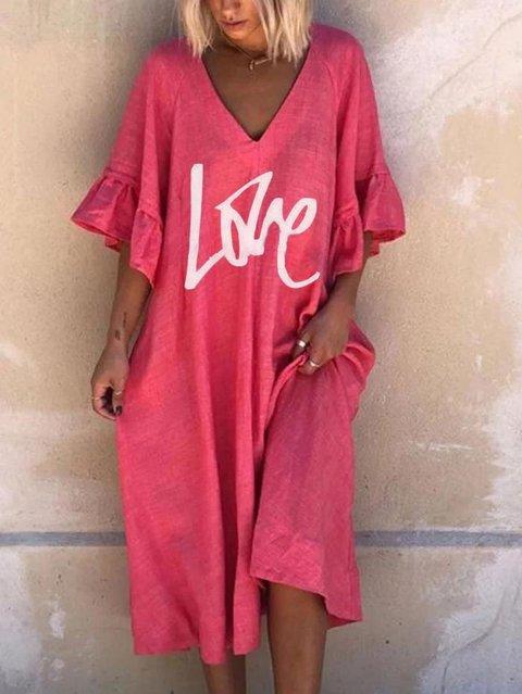 Short Sleeve Casual Cotton-Blend Dresses