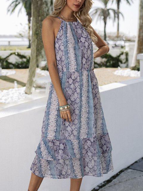Blue Boho Ombre/tie-Dye Chiffon Dresses