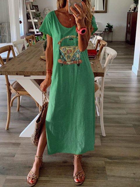 Summer Maxi Dress Women Short Sleeve Cartoon Dresses