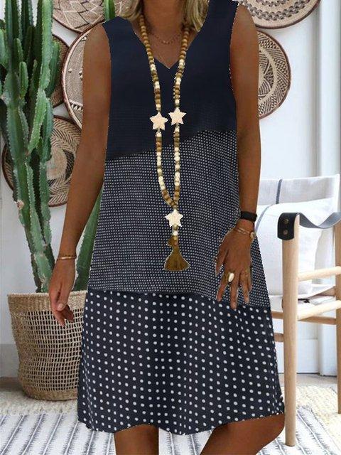V-neck ladies dress daily casual polka dot dress