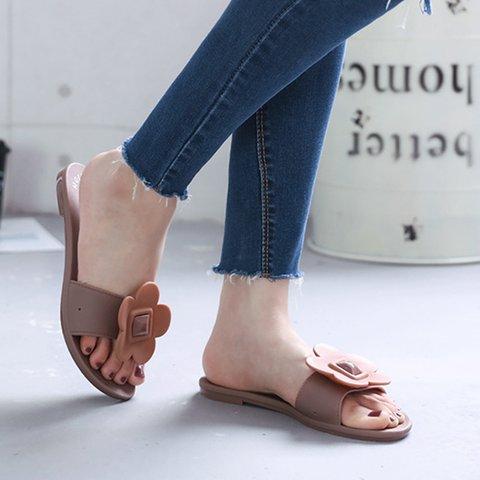 Women PVC Flower Flat Heel Home Wear Slippers