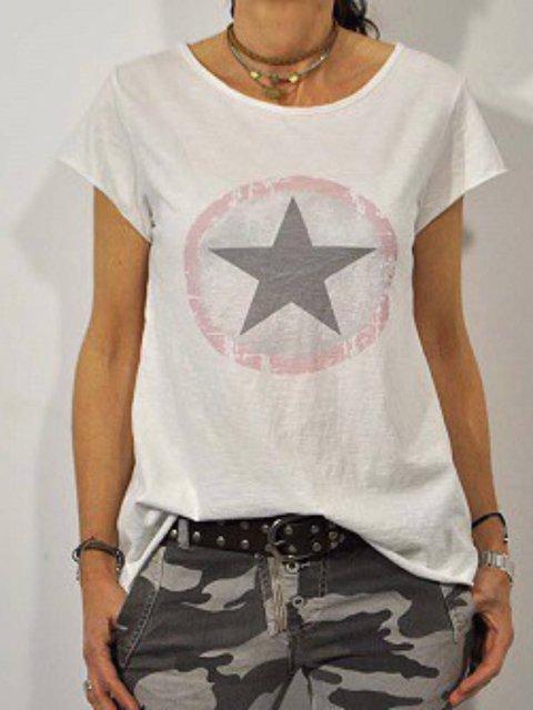 Star Short Sleeve Cotton-Blend  Tops
