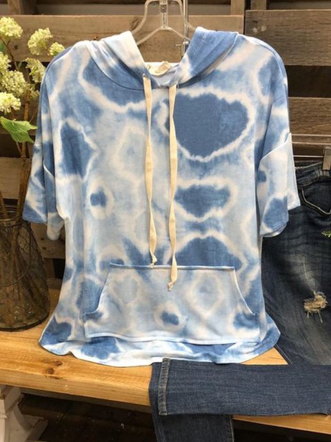 Blue Hoodie Short Sleeve Casual Pockets Shirts & Tops